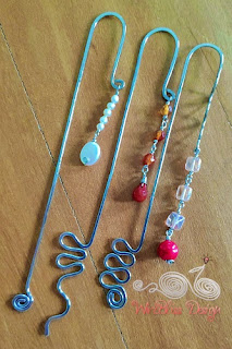 WireBliss - Beaded Wire Wrapped Bookmarks - Dangle with Pearl and Gemstones