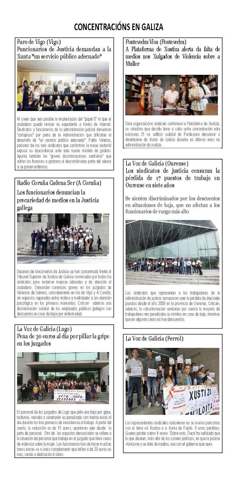 Concentracións en Galizia