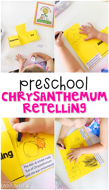 Practice retelling with this Chrysanthemum beginning, middle, end activity. Great for tot school, preschool, or even kindergarten!