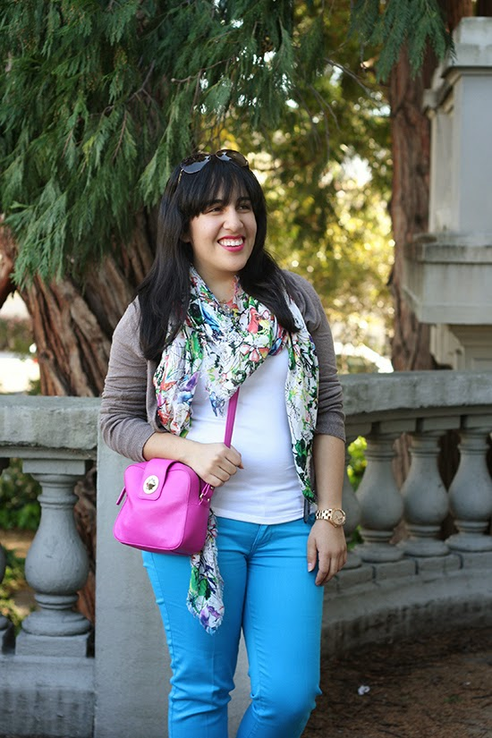 Express Watercolor Floral Scarf and Kate Spade Pink Purse