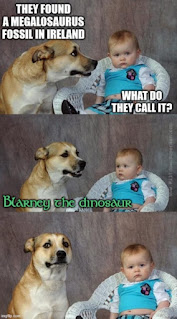 Dad joke dog about how Ireland can join the dinosaur fossil club due to advances in technology. They were found in marine rocks, and secular ad hoc excuses ignore details.