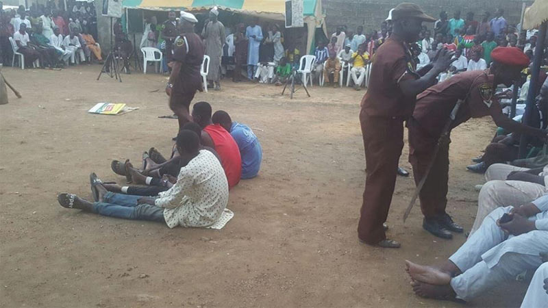 Thieves get their hair shaved off before being handed over to police in Kano