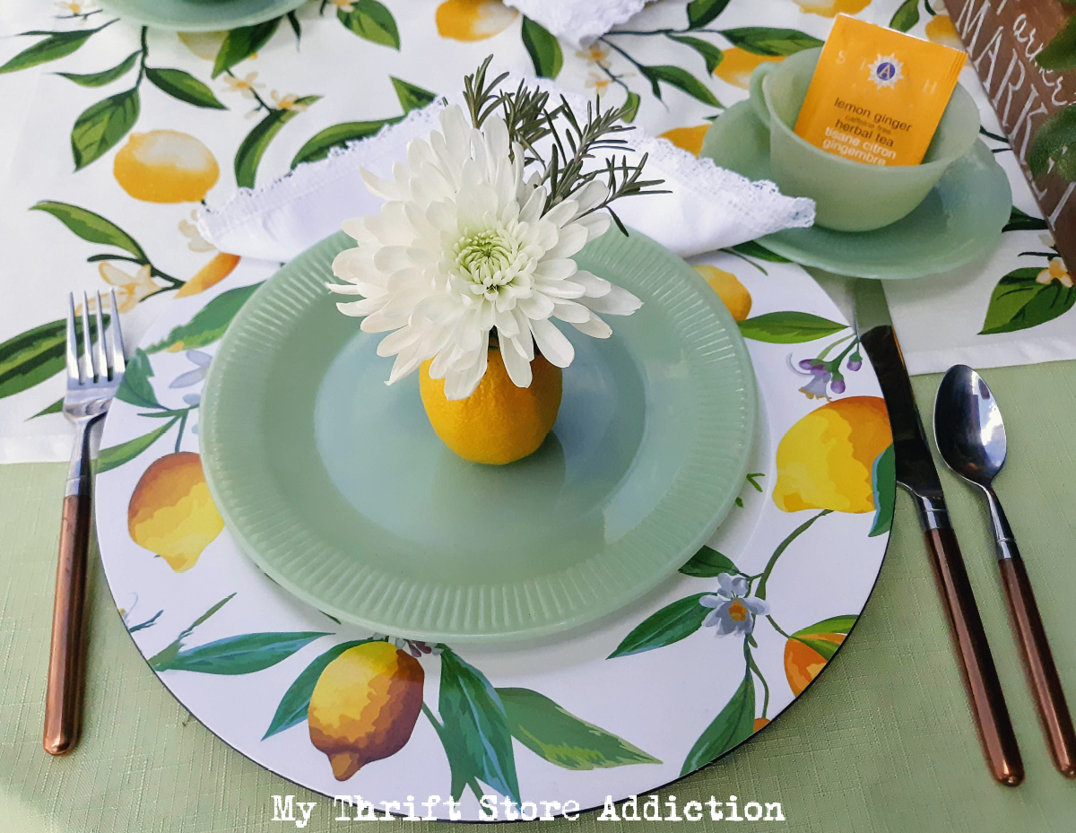 lemons and jadeite garden tablescape