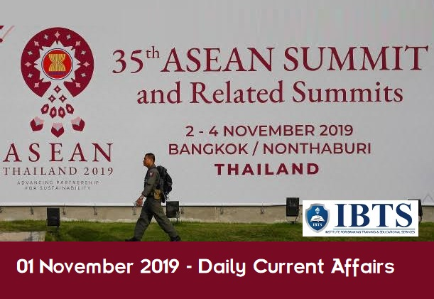 01 November 2019 - Daily Current Affairs