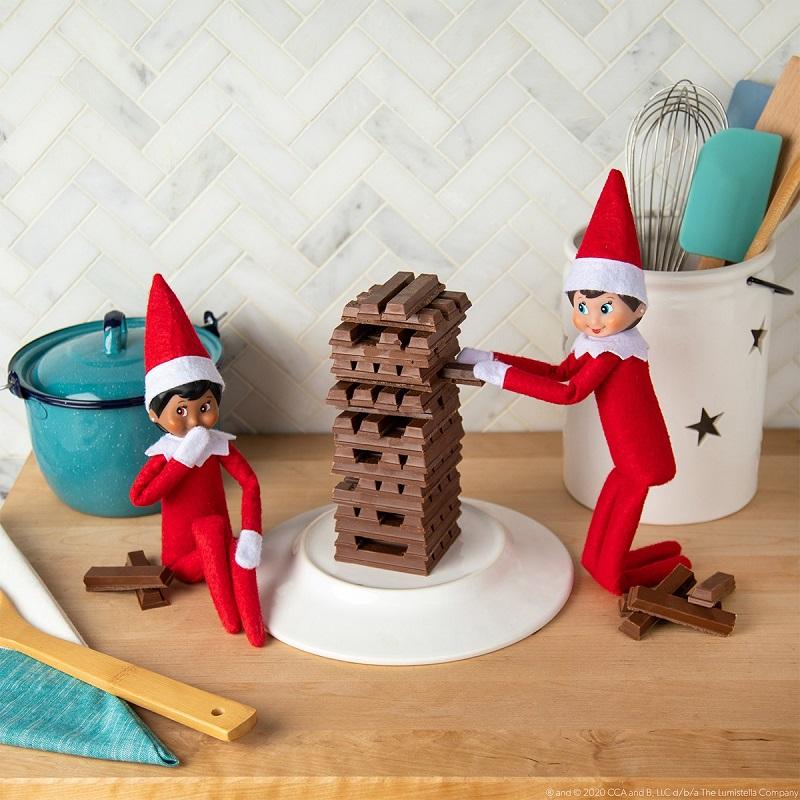 elf jenga using chocolate