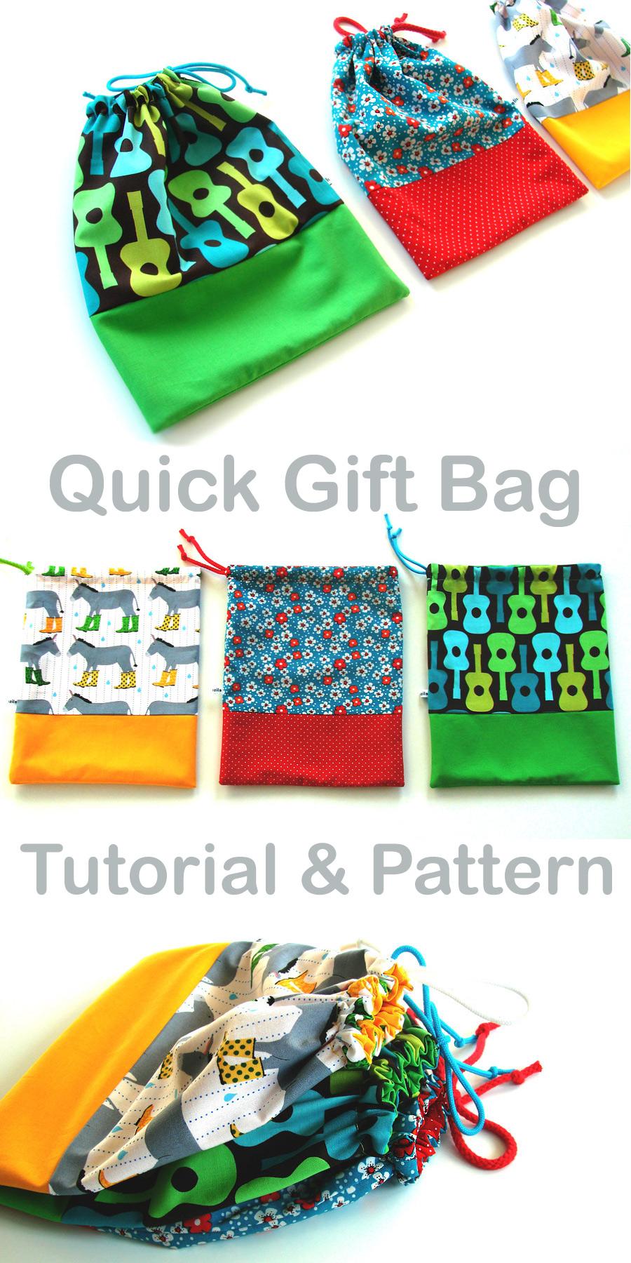 Quick Gift Bag Tutorial & Pattern