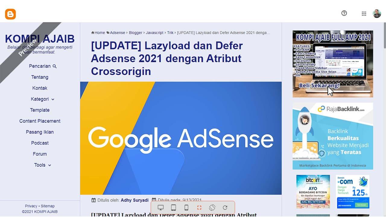 Menghilangkan Iklan Adsense di Halaman Pratinjau Blogger