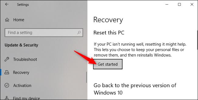 """زر """"البدء"""" ضمن إعادة تعيين هذا الكمبيوتر في تطبيق إعدادات Windows 10."""
