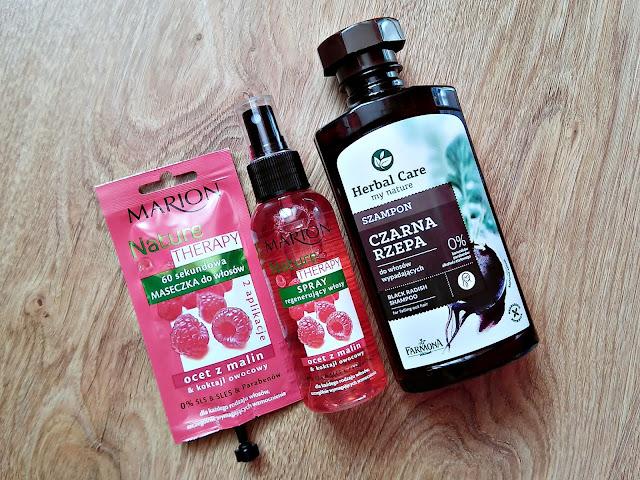 haul kosmetyczny, Wizaż24, odżywki do włosów, Marion ocet z malin, Farmona szampon z czarną rzepą