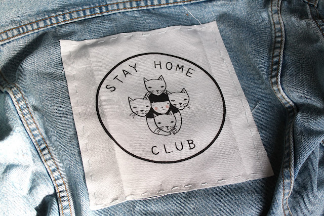 stay home club back patch denim jacket