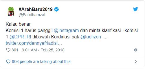 respon fahri hamzah akun uas dihapus ig