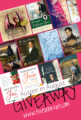 giveaway, jane austen, jane austen books, jane austen retellings, free jane austen fanfiction, JAFF, Austen in August, the book rat, book rat misty, maria grace, nancy kelley, jessica grey, monica fairview, eliza shearer, leigh dreyer, riana everly