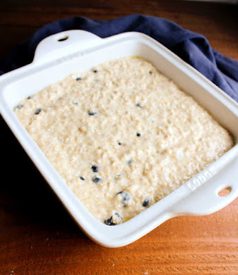 pan of lemon blueberry oatmeal batter ready to bake