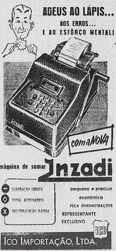 Propaganda antiga da Máquina de Somar da Inzadi apresentada em 1954