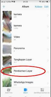 folder penyimpanan video rekaman layar