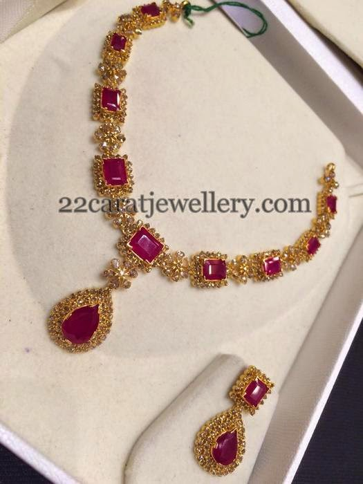 Uncut Ruby Set With Hangings Jewellery Designs