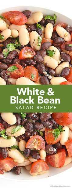 A flavorful side dish made with cannellini beans, black beans, tomatoes, fresh basil and garlic.