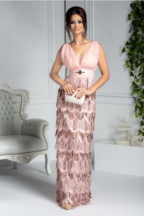 Rochie lunga de seara roz cu franjuri din paiete