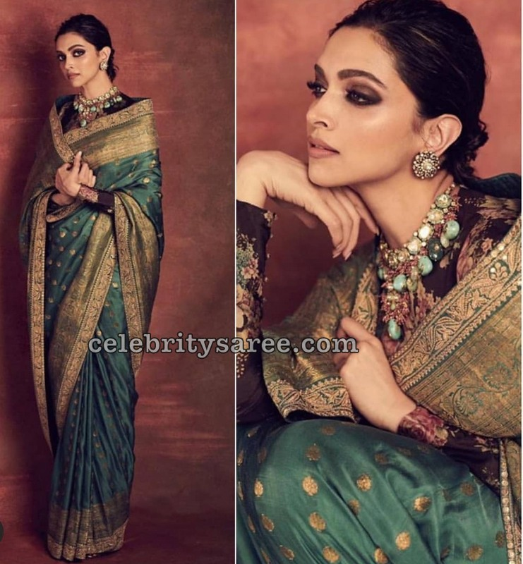 Deepika Padukone in Traditional Saree by Sabyasachi ...