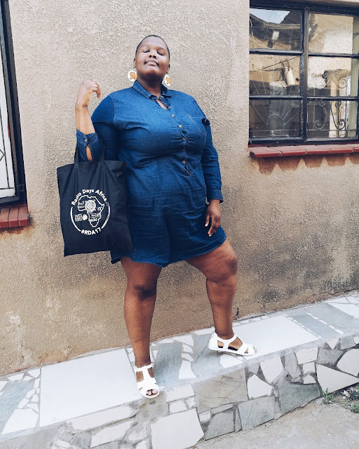 south african plus size blogger, plus size style denim dress, denim dress plus size