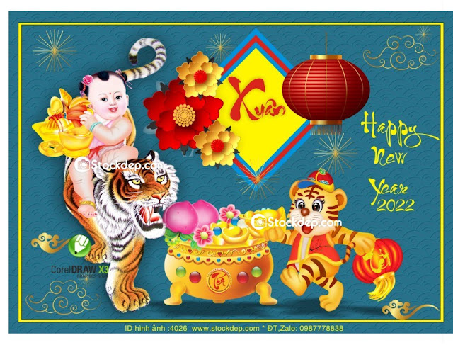 tiger design for Chinese New Year vector crd 2022