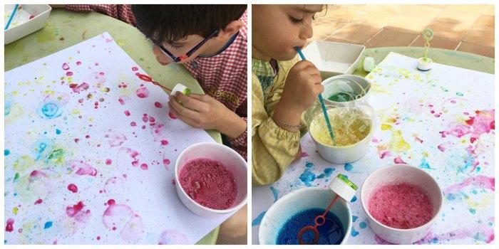 manualidades, diy, crafts, actividades infantiles primavera motricidad fina pintar con burbujas jabon