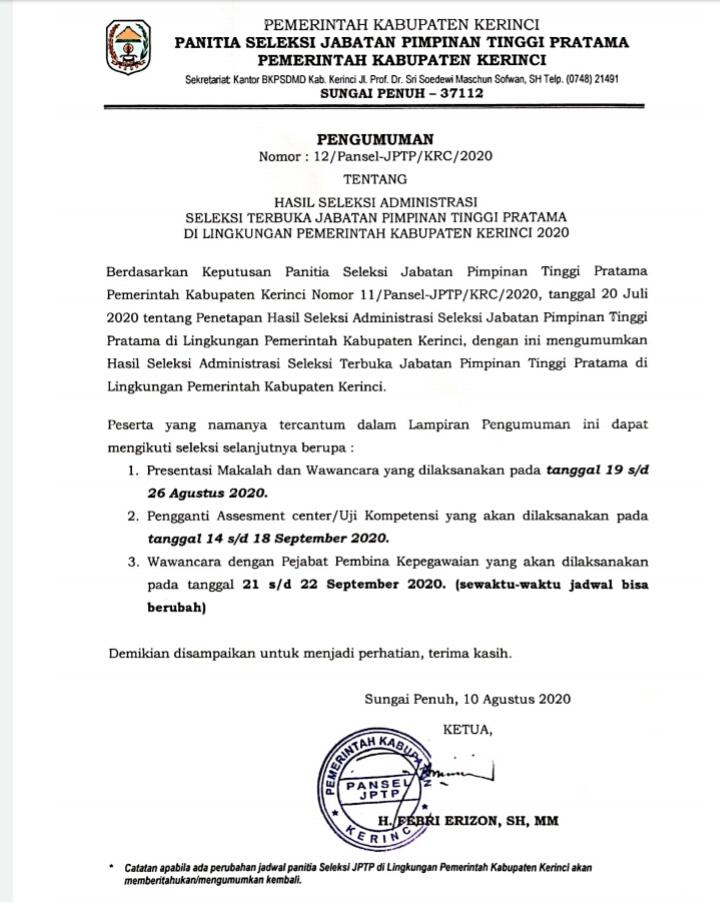 BKPSDMD Kerinci Umumkan Pejabat Lolos Seleksi Administrasi