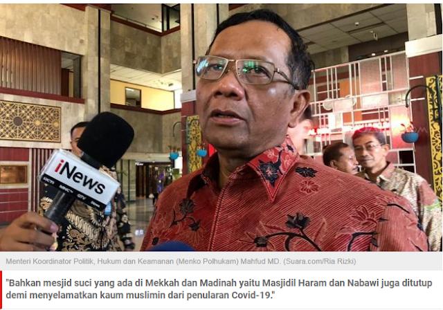 Minta Shalat Idul Fitri di Rumah Saja, Mahfud MD: Masjidil Haram dan Nabawi Saja Ditutup