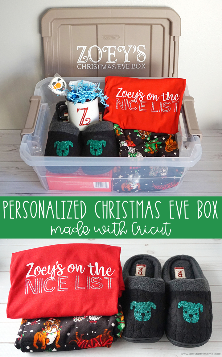 Personalized Christmas Eve Box made with Cricut