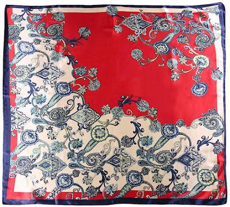 Pattern Red Satin Scarves