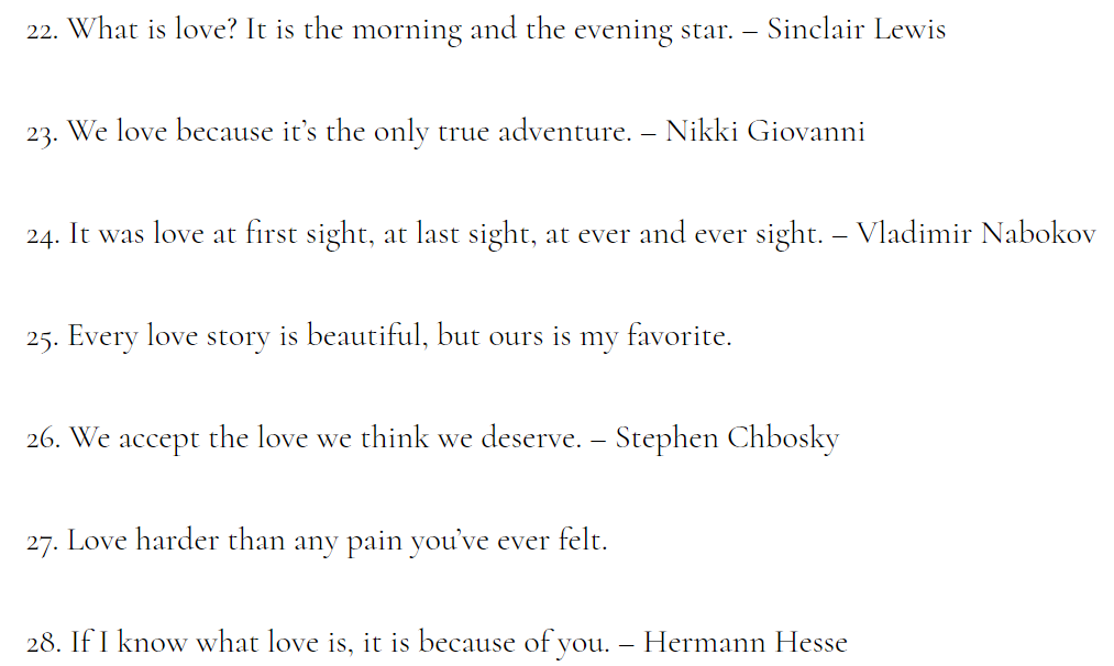 Short Quotes For Love