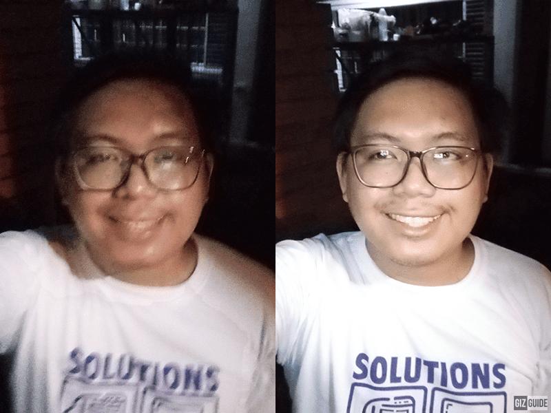 Low light selfie vs low light selfie with screen flash