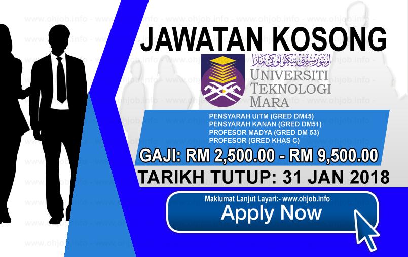 Jawatan Kerja Kosong Universiti Teknologi MARA - UiTM logo www.ohjob.info januari 2018