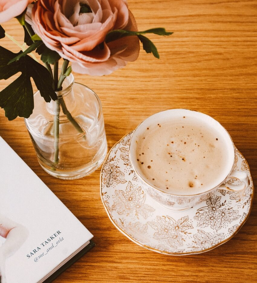 xícara, flor bancada clean