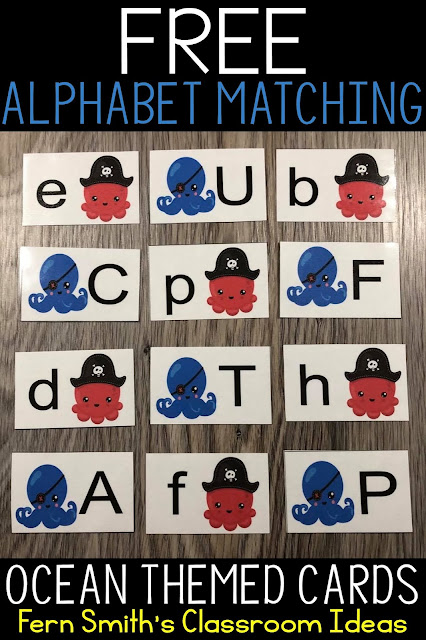 Click Here to Download This FREE Alphabet Matching Ocean Themed Center Game Resource For Your Classroom Today!