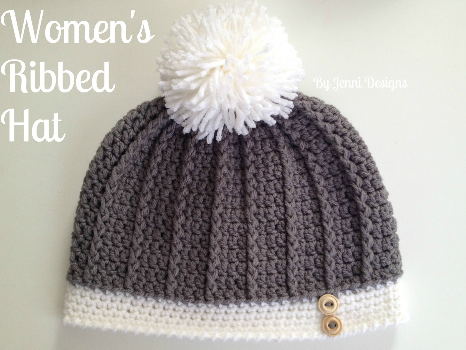 By Jenni Designs Free Crochet Pattern Womens Ribbed Hat