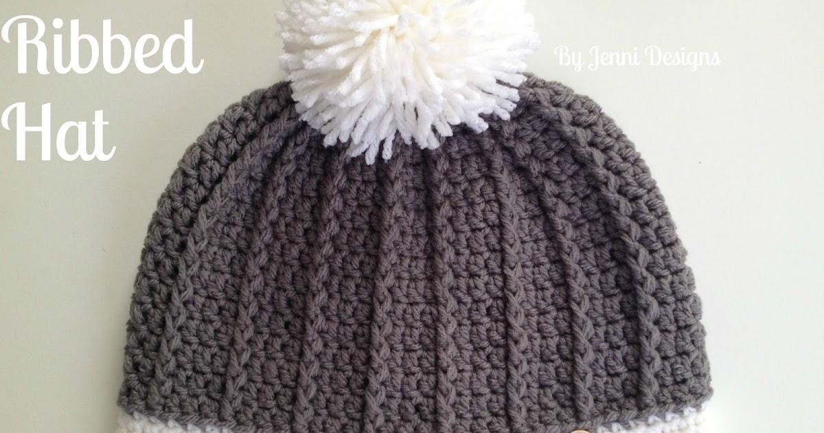 By Jenni Designs Free Crochet Pattern Womens Ribbed Hat