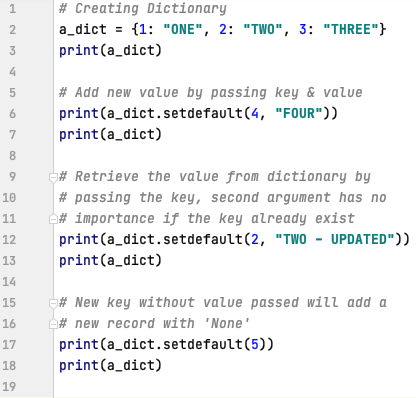 What is the use of setdefault method in Python
