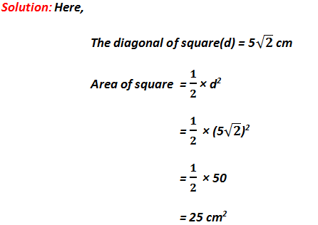 area of square = 1/2 × d^2