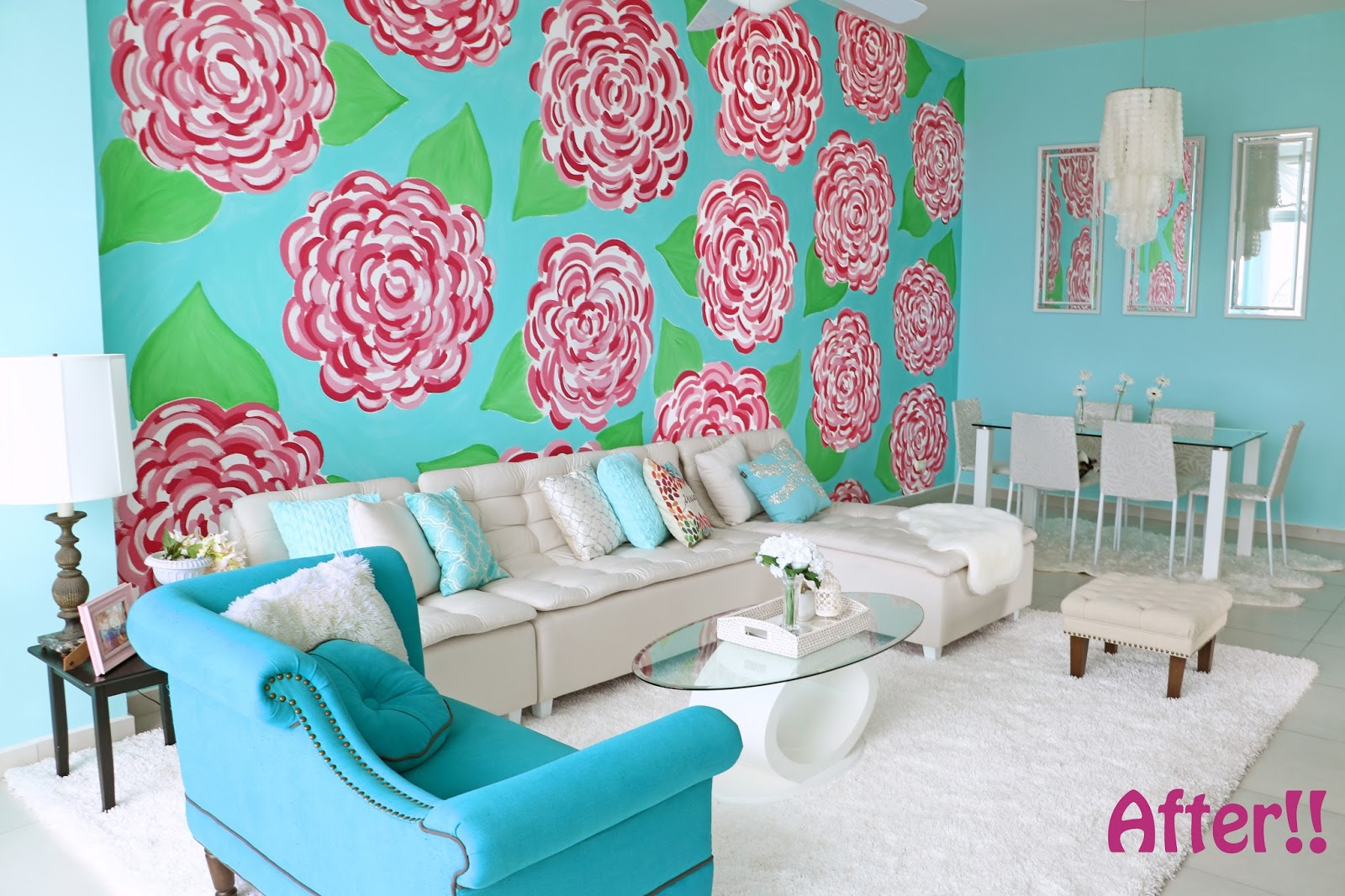 Click through to see the full apartment makeover to a colorful wonderland!