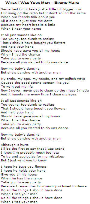 When I Was Your Man bruno mars letra