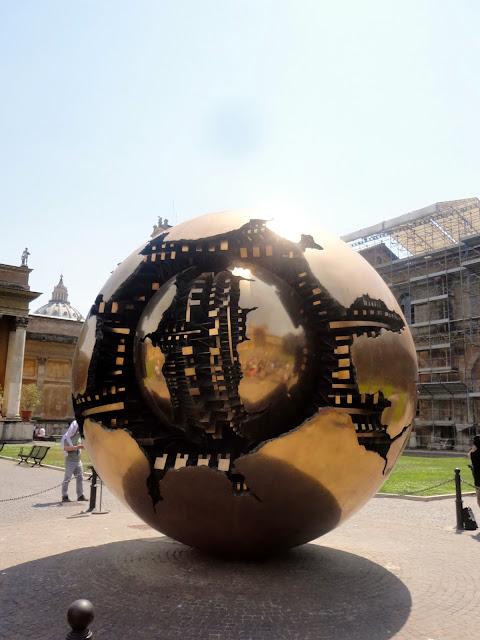 Sphere Within Sphere - bronze globe - inside Vatican, Rome, Italy