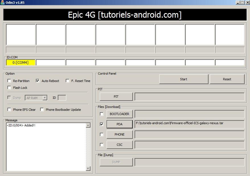 ODIN : installer ICS sur GT-I9250