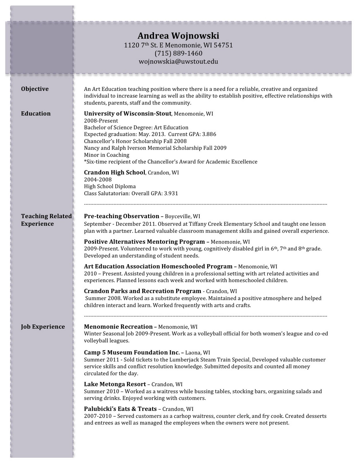 art education field experience  resume writing
