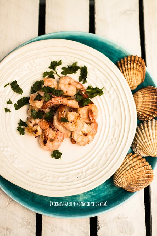 krewetki, grill, owoce morza
