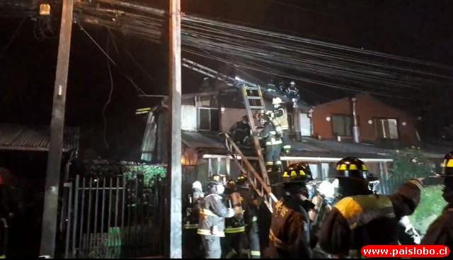 Osorno: incendio afecta viviendas del sector de Francke