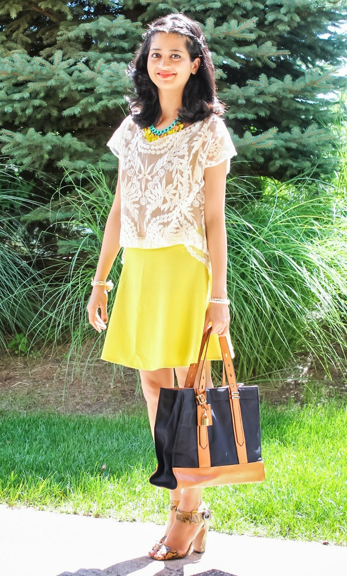 Lace Top, Vintage Skirt, Yellow Skirt, Statement Necklace, Ankle Strap Sandals, Summer 2014, Outfit Ideas, What I wore, Outfits, Indian, Fashion Blogger, Fashion, Style, Fashion Trends,