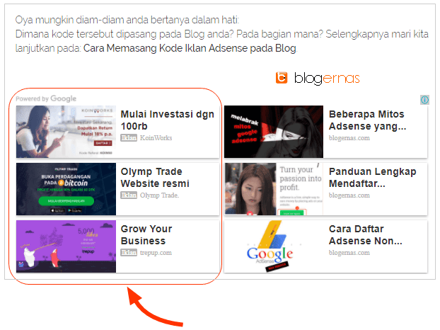 Apa Itu Iklan Matched Content Adsense, Fungsi & Contohnya