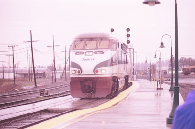 Amtrak Cascades F59PHI #467 in Vancouver, Washington, in Early 1999