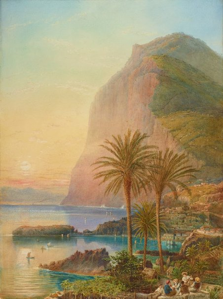 "Artwork, XIX century art, watercolours, ""Cape Girão, Madeira"" by Nicholas Chevalier, 1895."